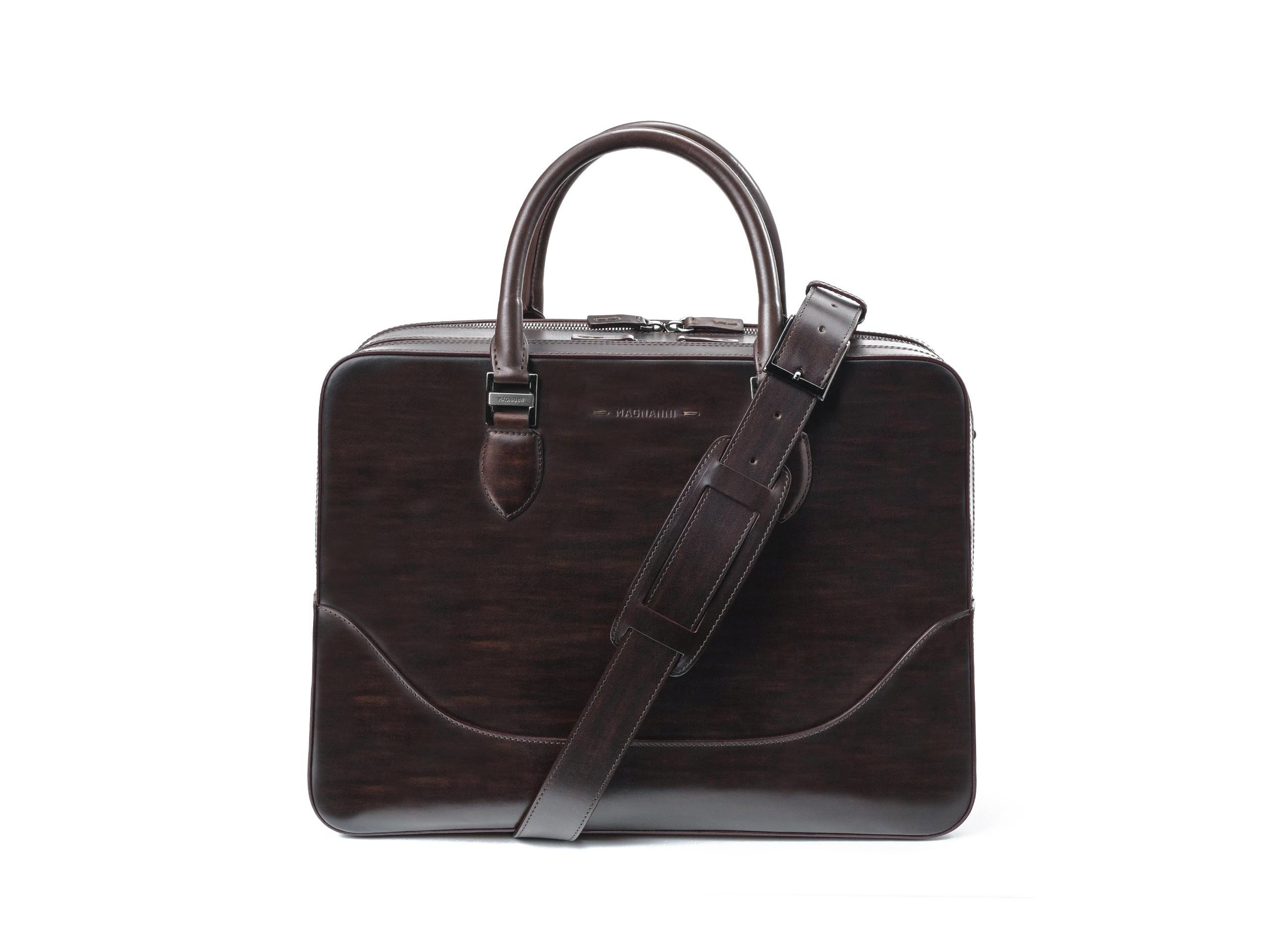 Brown leather executive bag for men - Magnanni