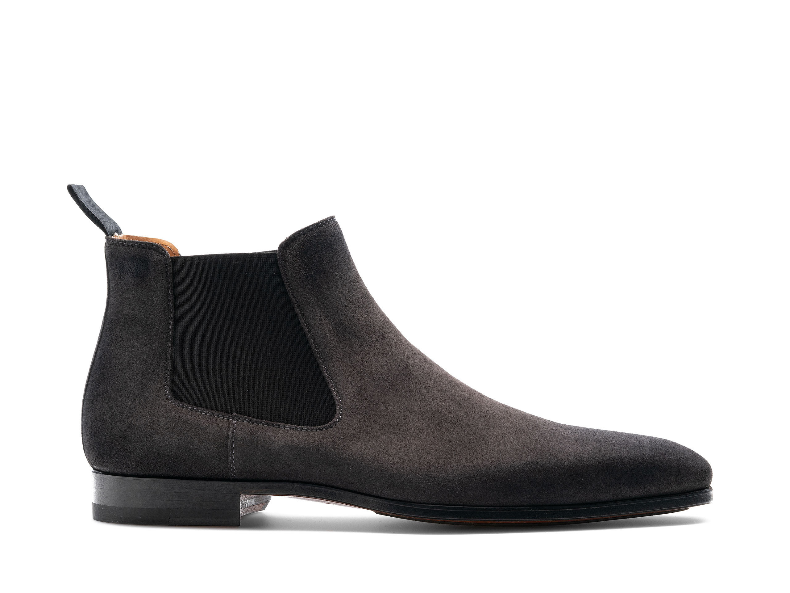 Side view of the Magnanni Shaw II Grey Suede Men's Suede Chelsea Boots