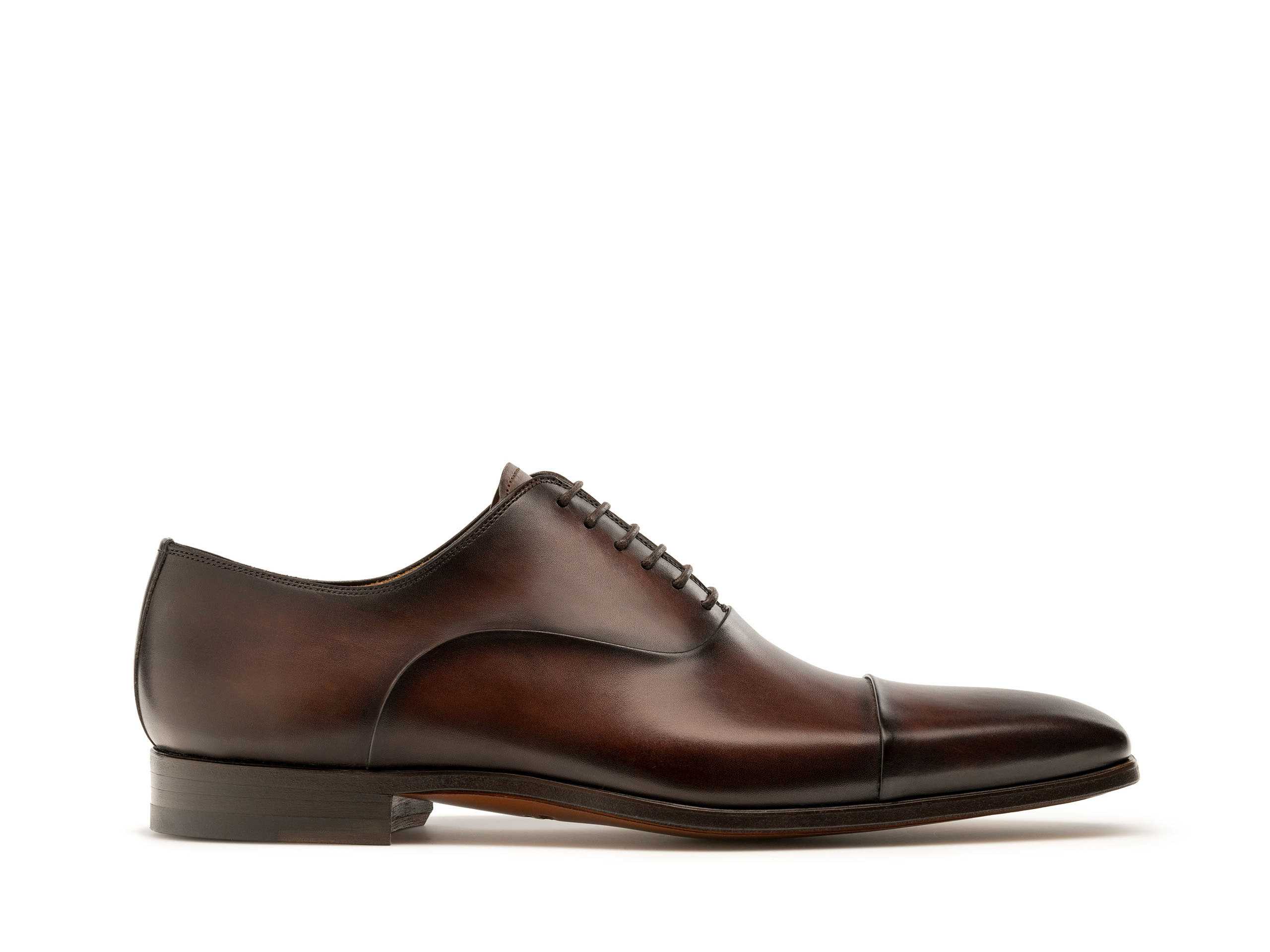 Brown hand painted calfskin oxford shoes for men - Magnanni
