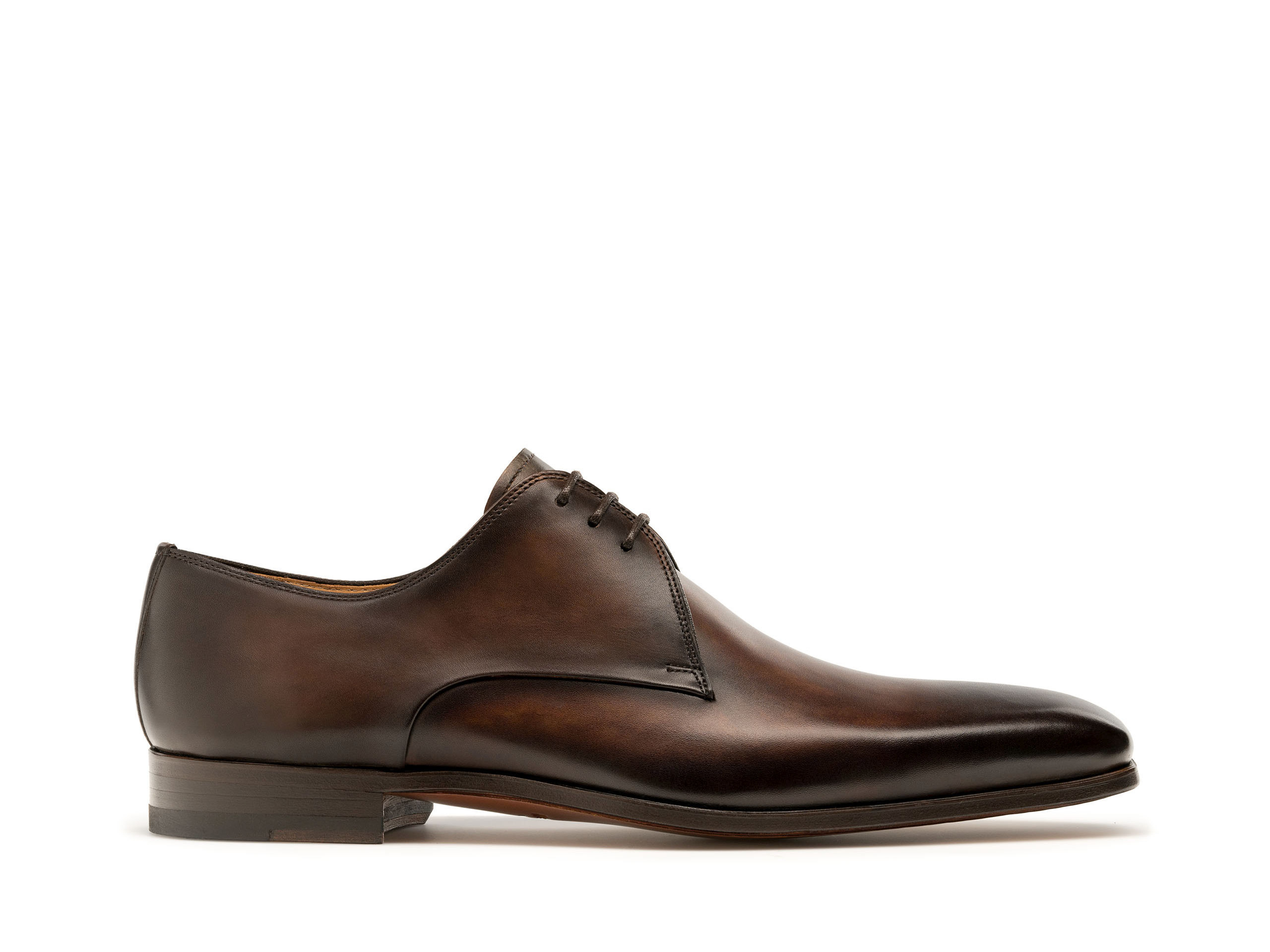 Brown hand-painted calfskin derby lace up shoes for men - Magnanni