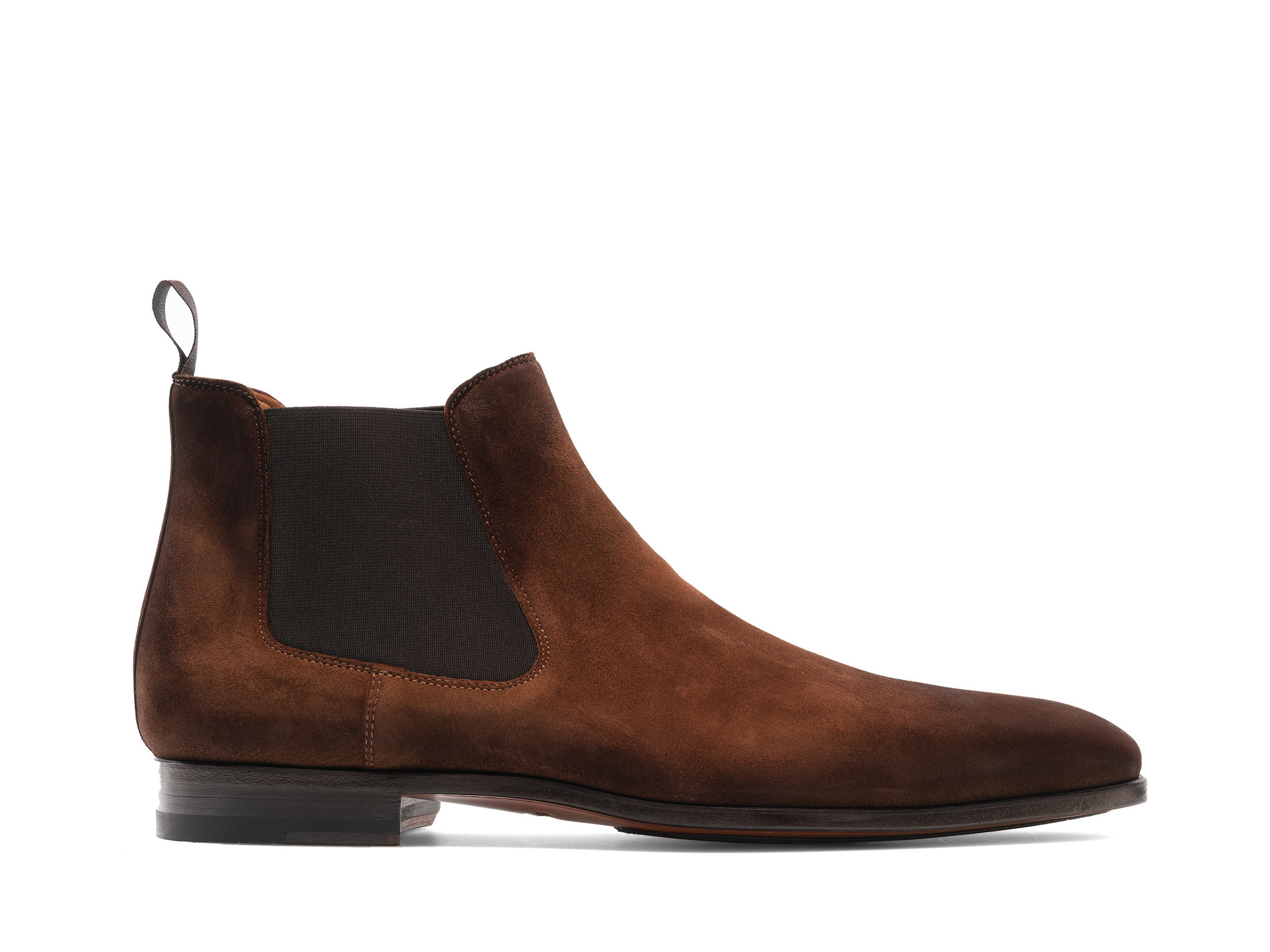 Side view of the Magnanni Shaw II Cognac Suede Men's Suede Chelsea Boots