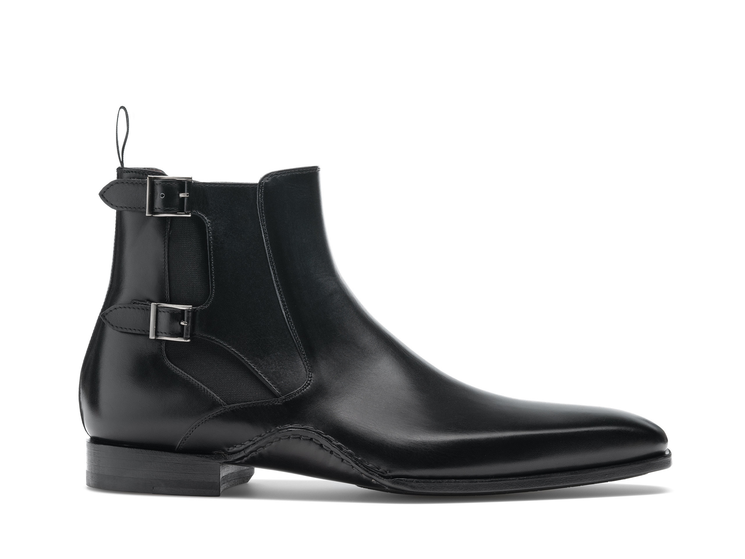 Side view of the Magnanni Grant Black Men's Leather Chelsea Boots
