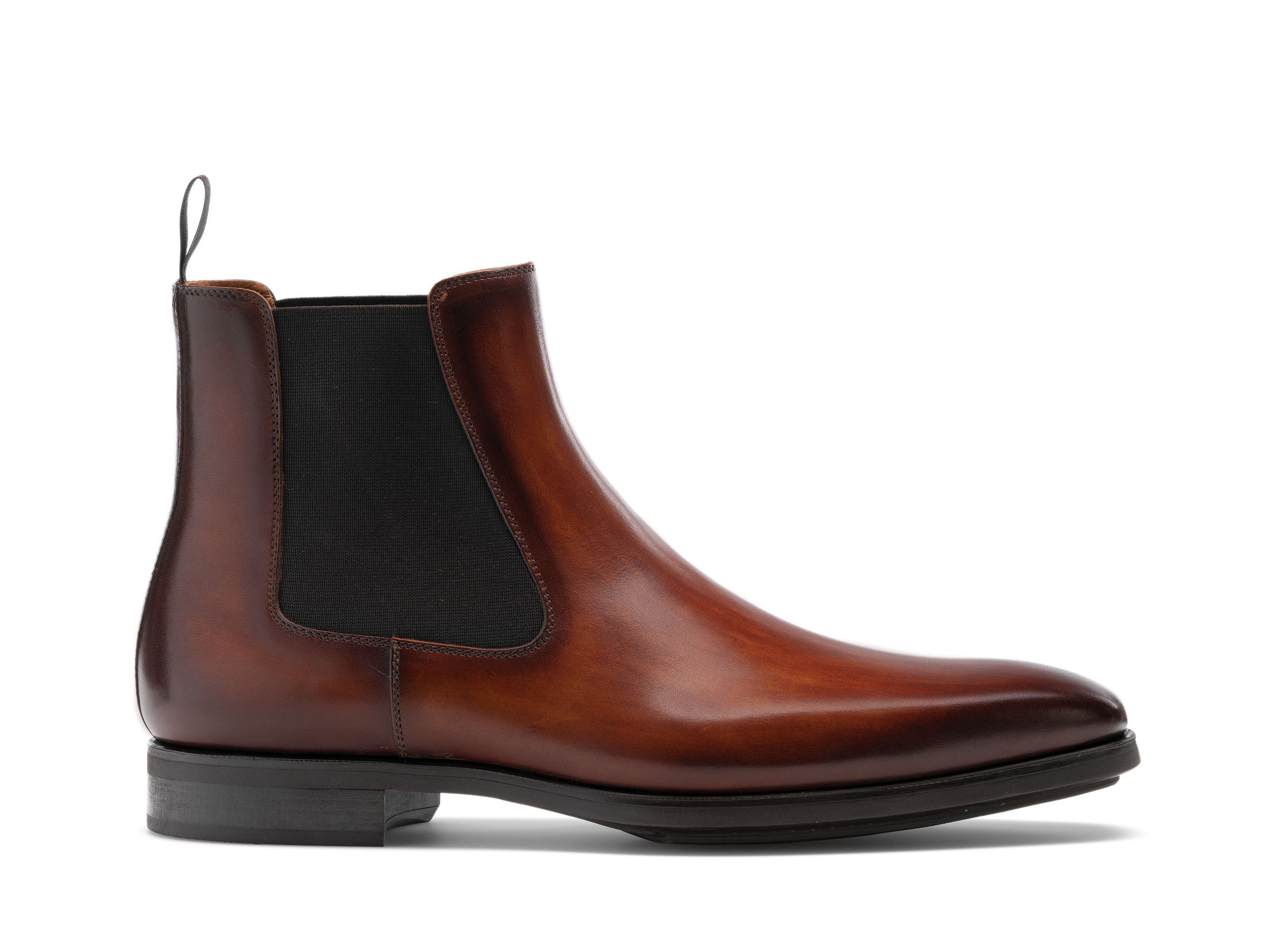 Side view of the Magnanni Riley Cognac Men's Leather Chelsea Boots