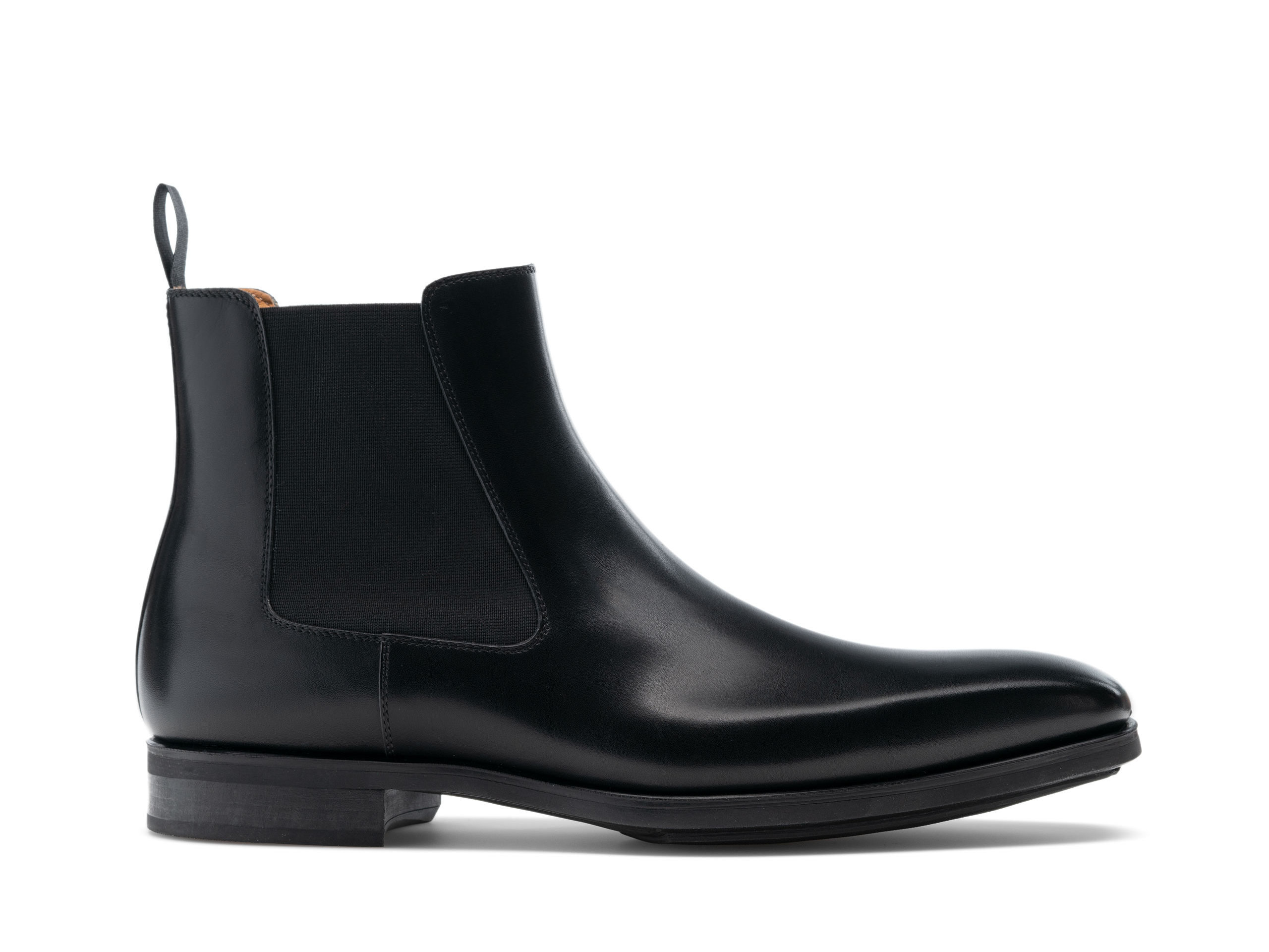 Side view of the Magnanni Riley Black Men's Leather Chelsea Boots
