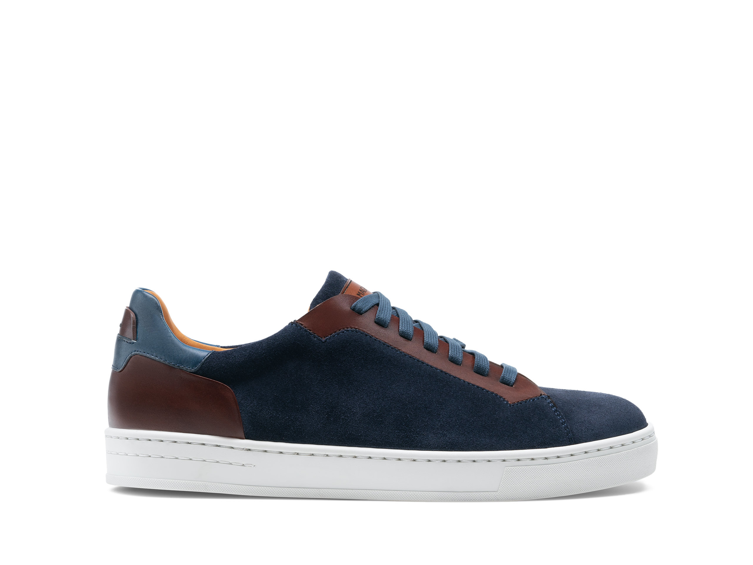 Side Profile of Amadeo Navy Suede Sneakers