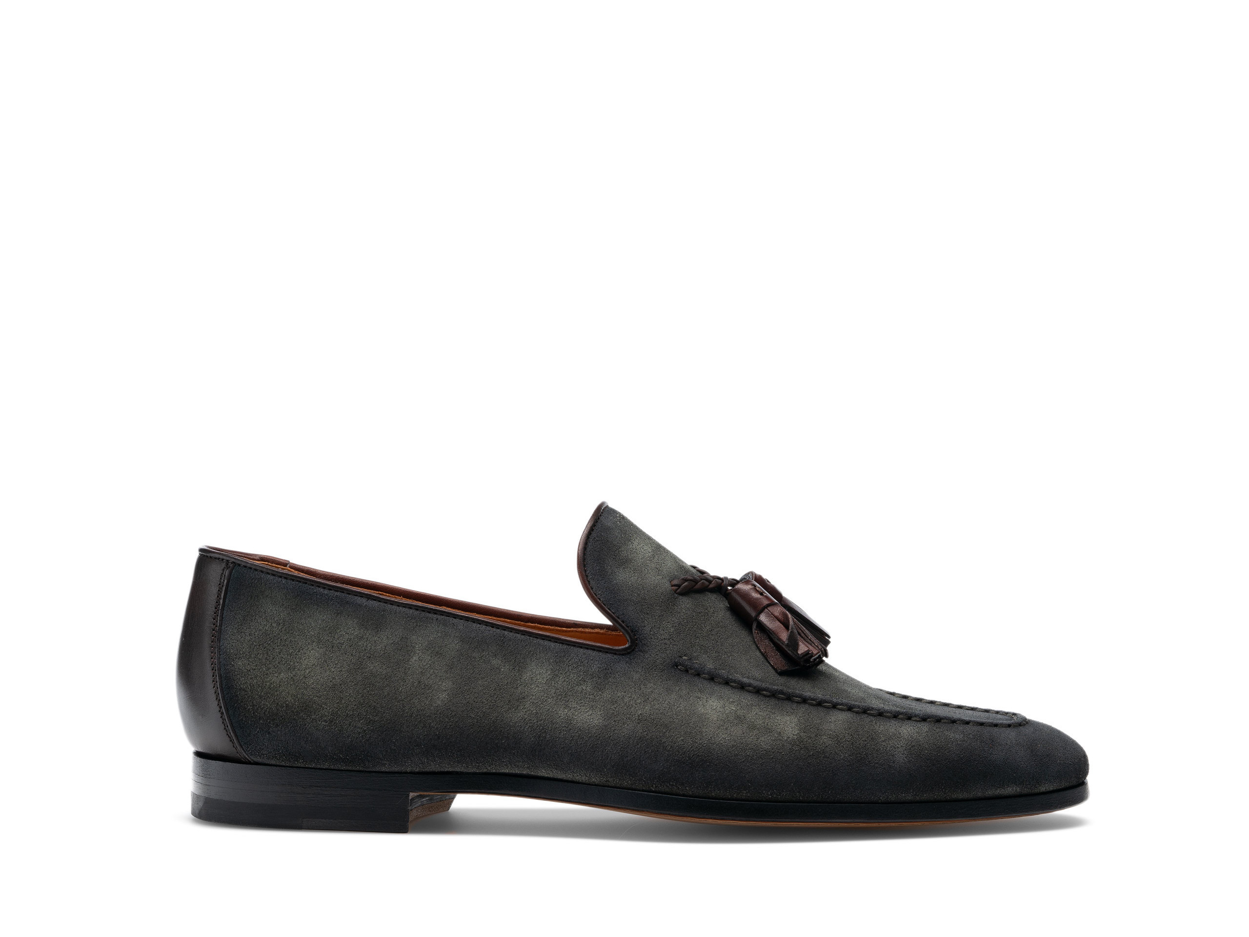Side view of the Magnanni Salares Musgo Suede Men's Tassel Loafers