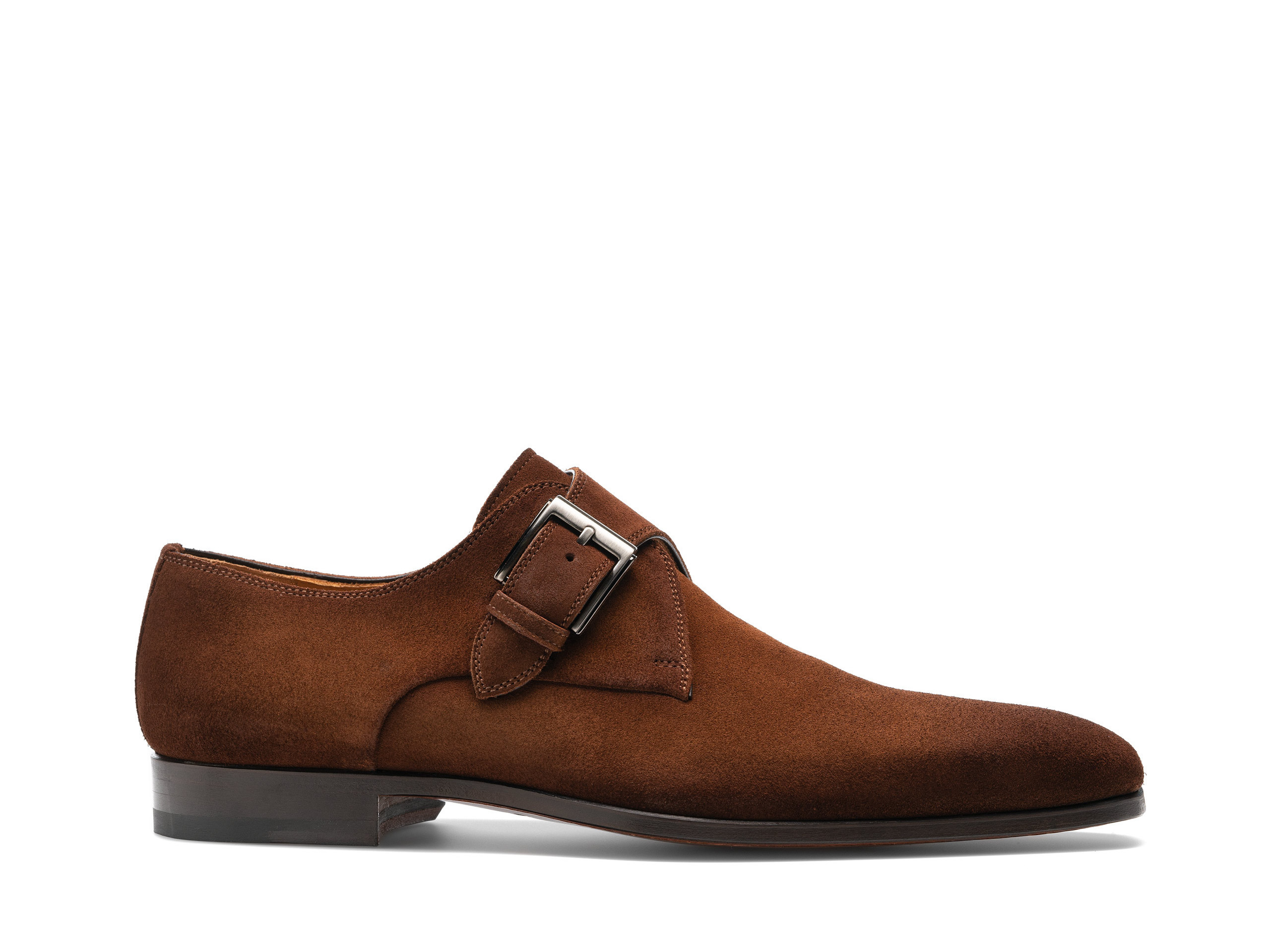Side view of the Magnanni Cangas II Cognac Suede Men's Single Monk Strap Shoes