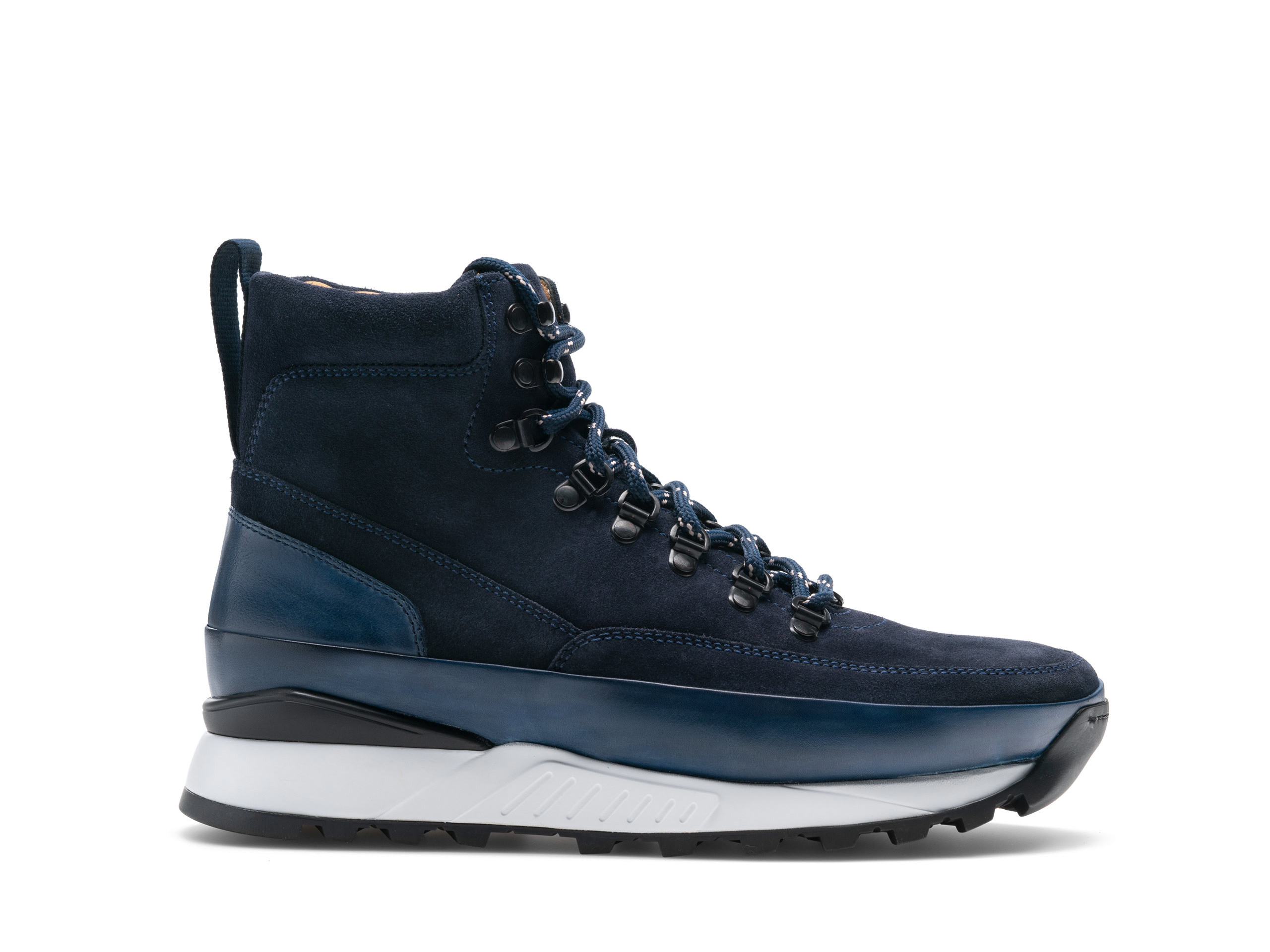 Side view of the Magnanni Bodhi II Navy Suede Boots