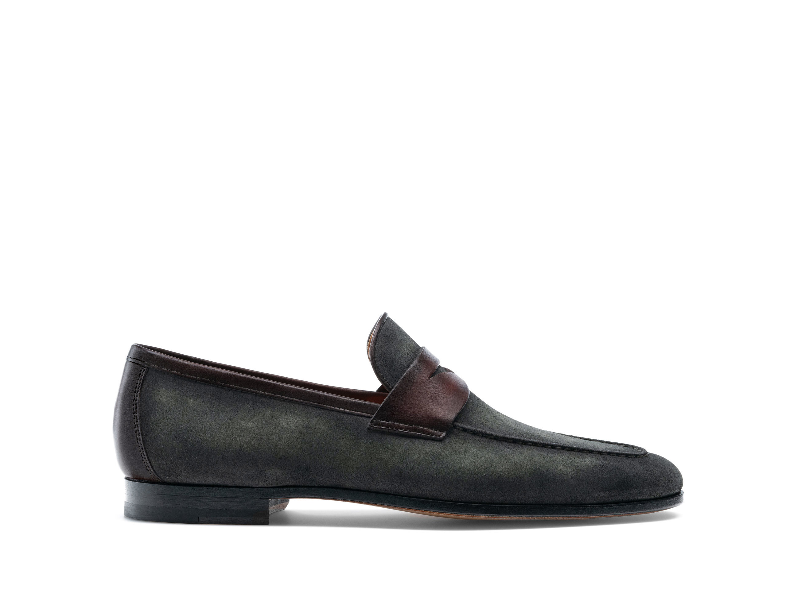 Side Profile of Diezma III Musgo Suede Loafers