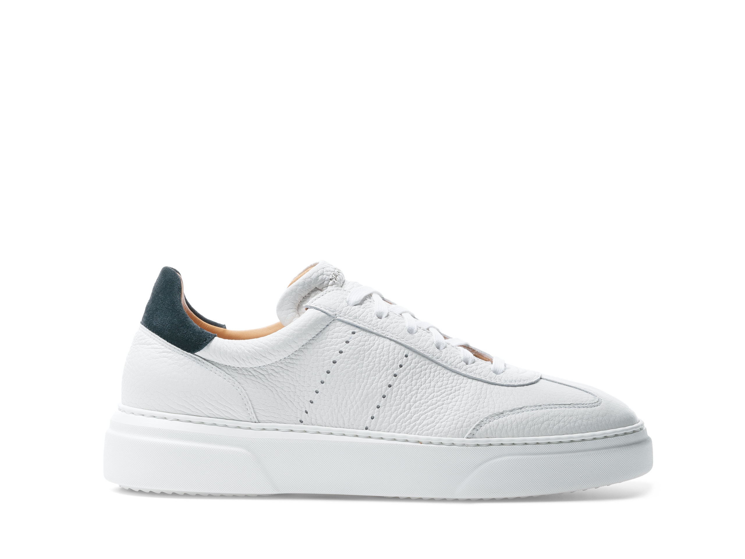 Side Profile of Reina II White and Black Sneakers