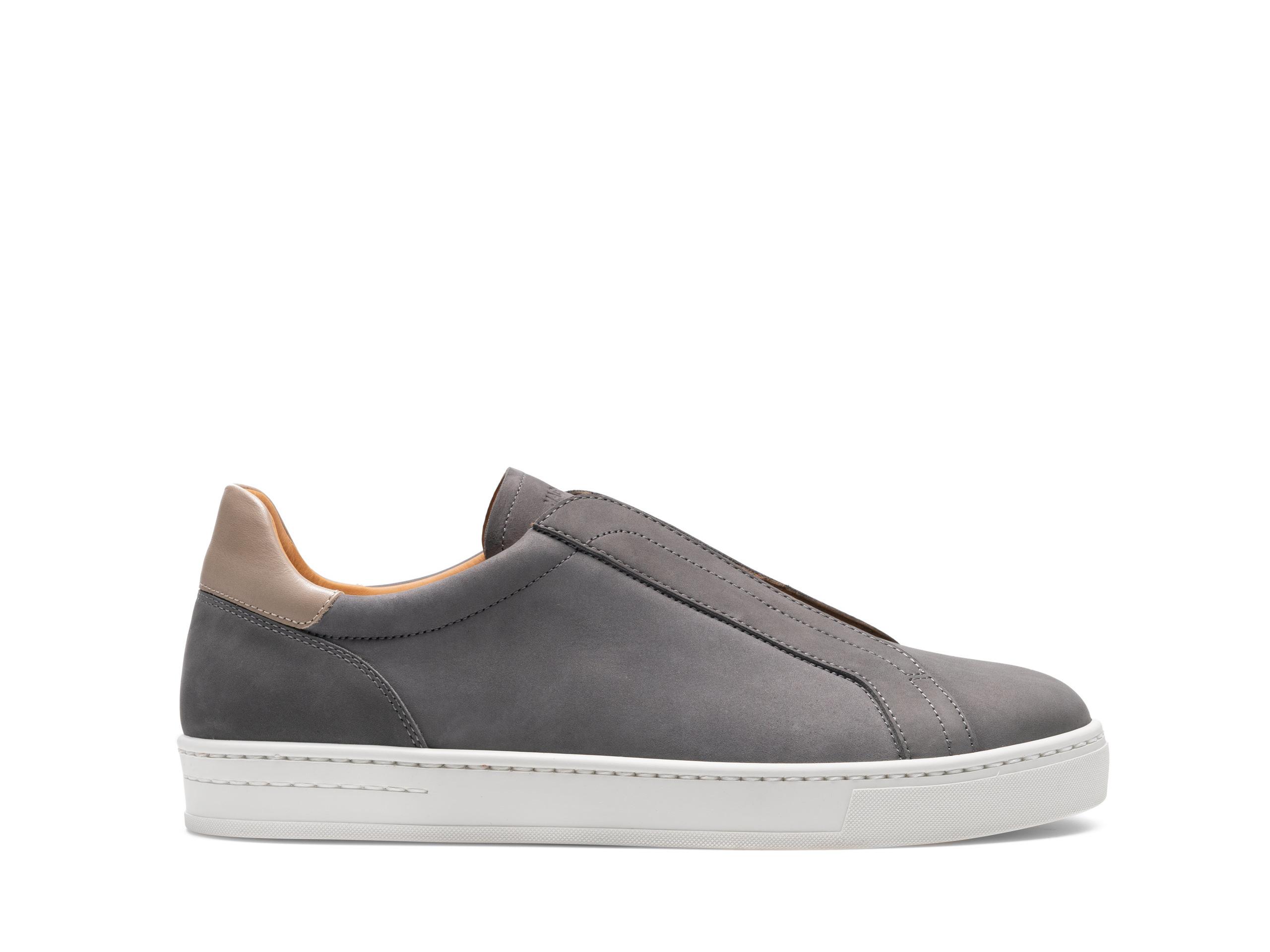 Side Profile of Gasol Grey Suede Sneakers