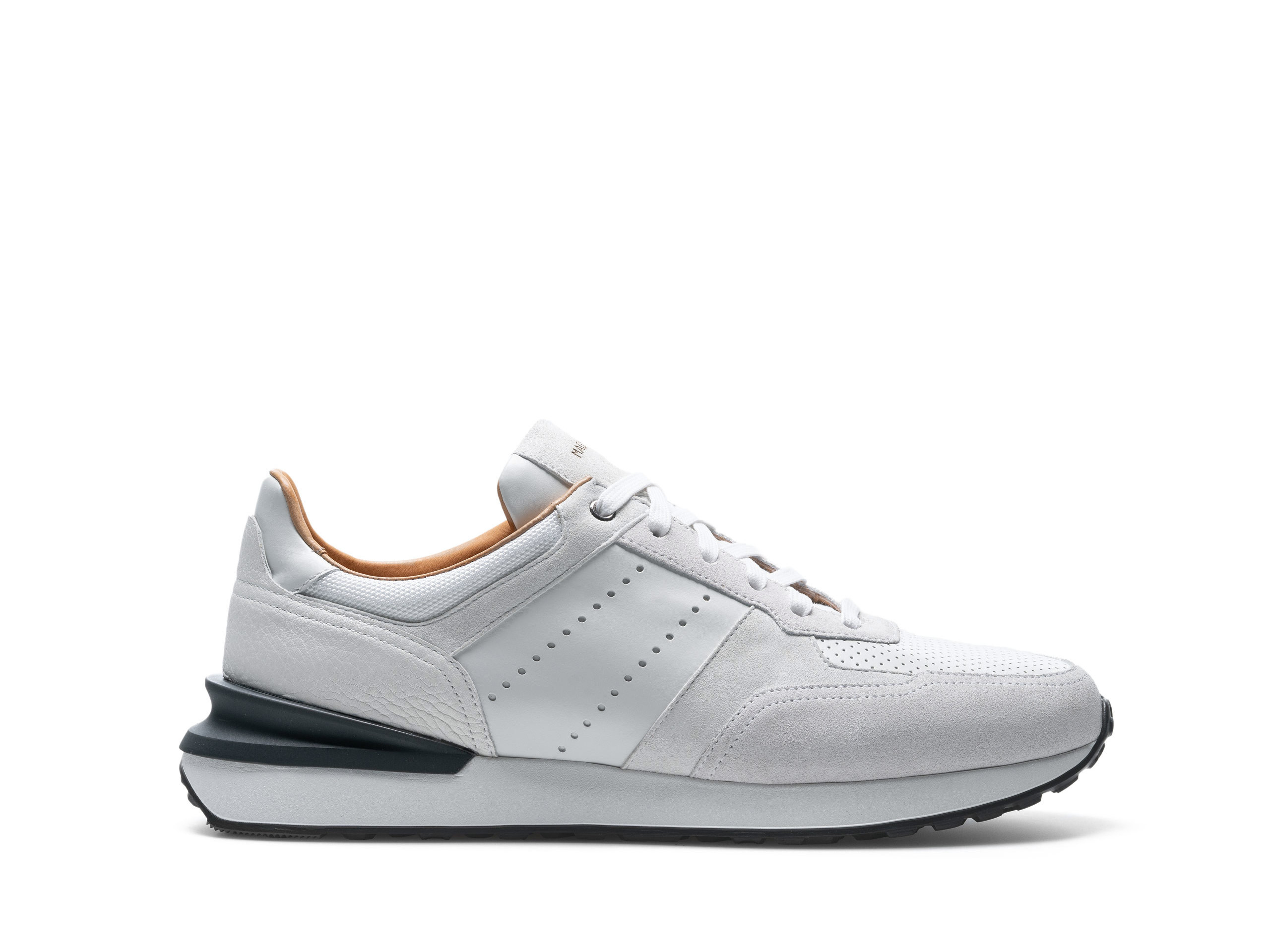 Side Profile of Sona White Sneakers