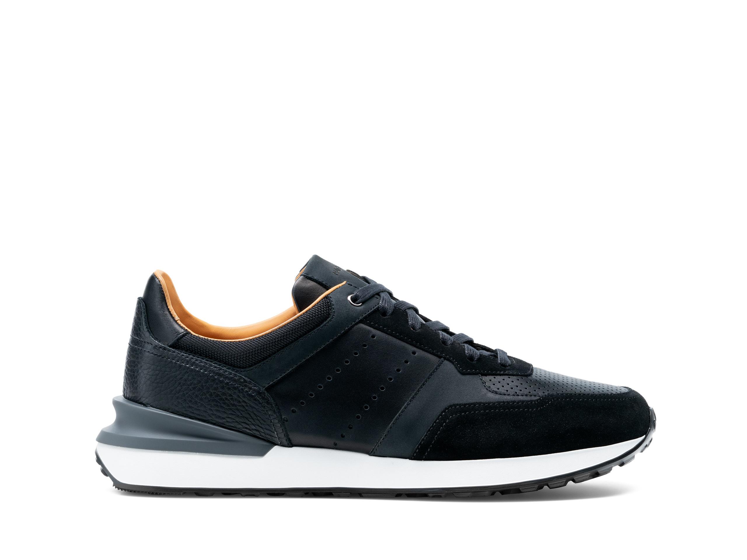 Side Profile of Sona Black Sneakers