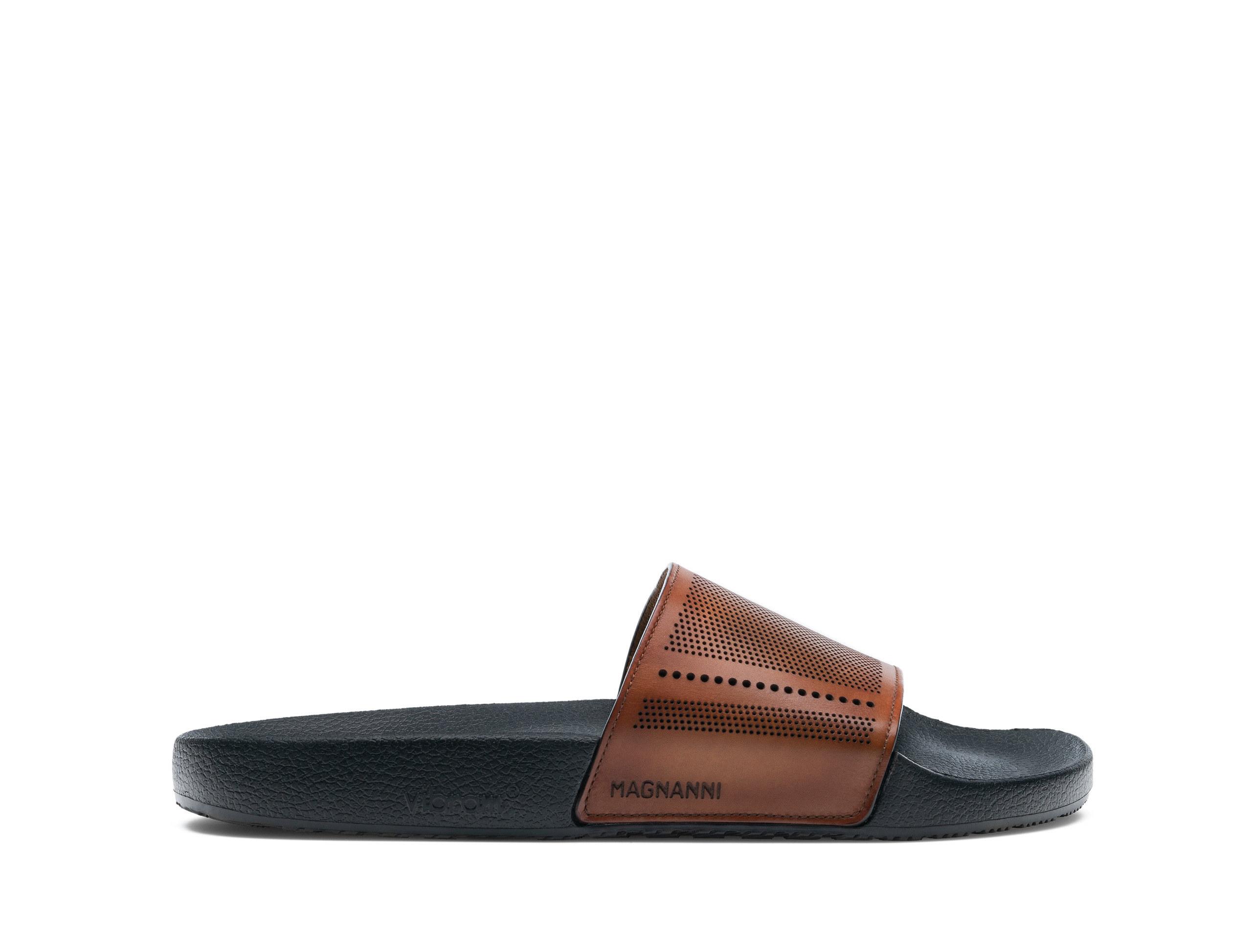 Side Profile of Playa Perf Cognac Slides