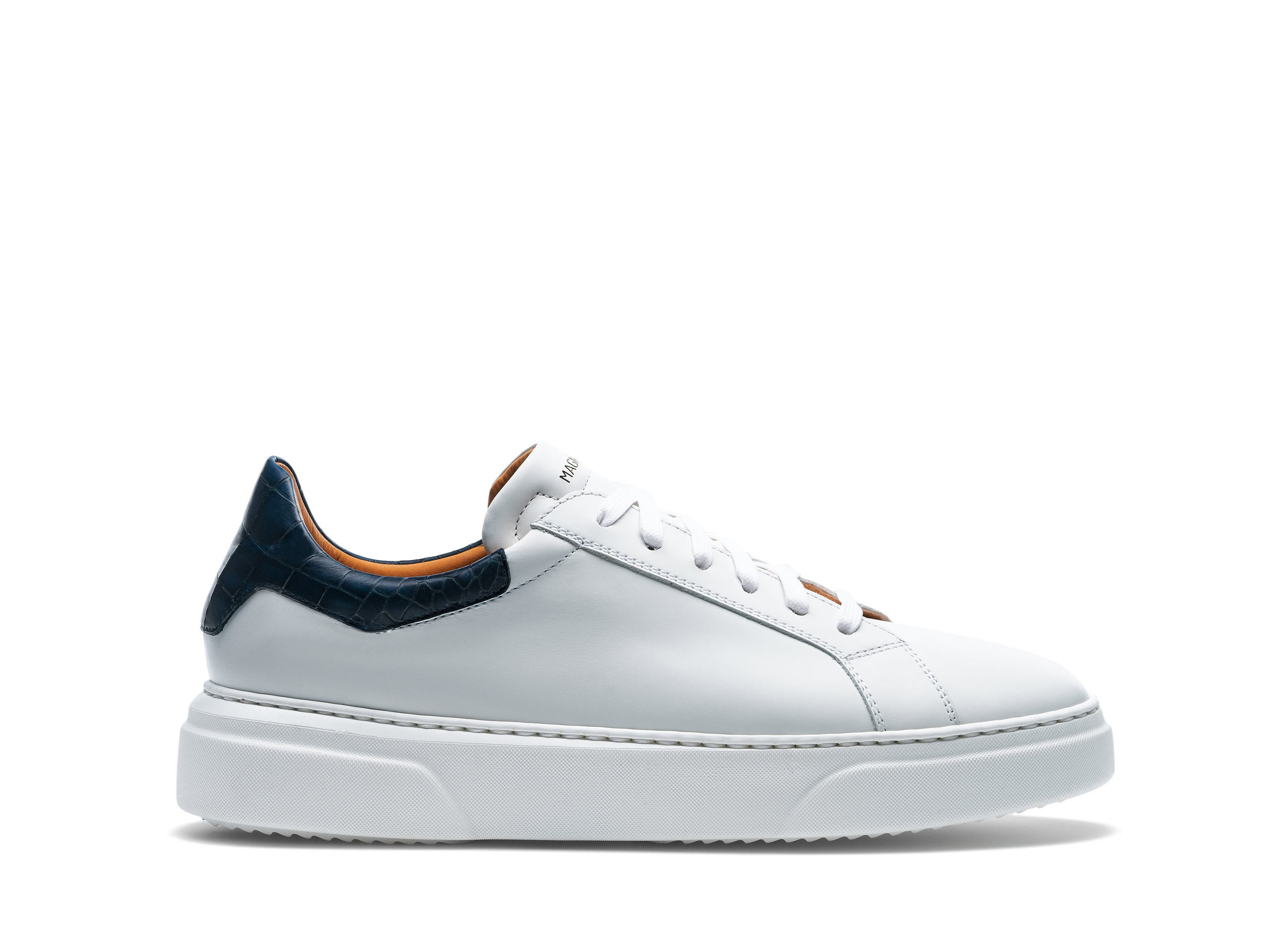 Side Profile of Castillo White and Navy Sneakers