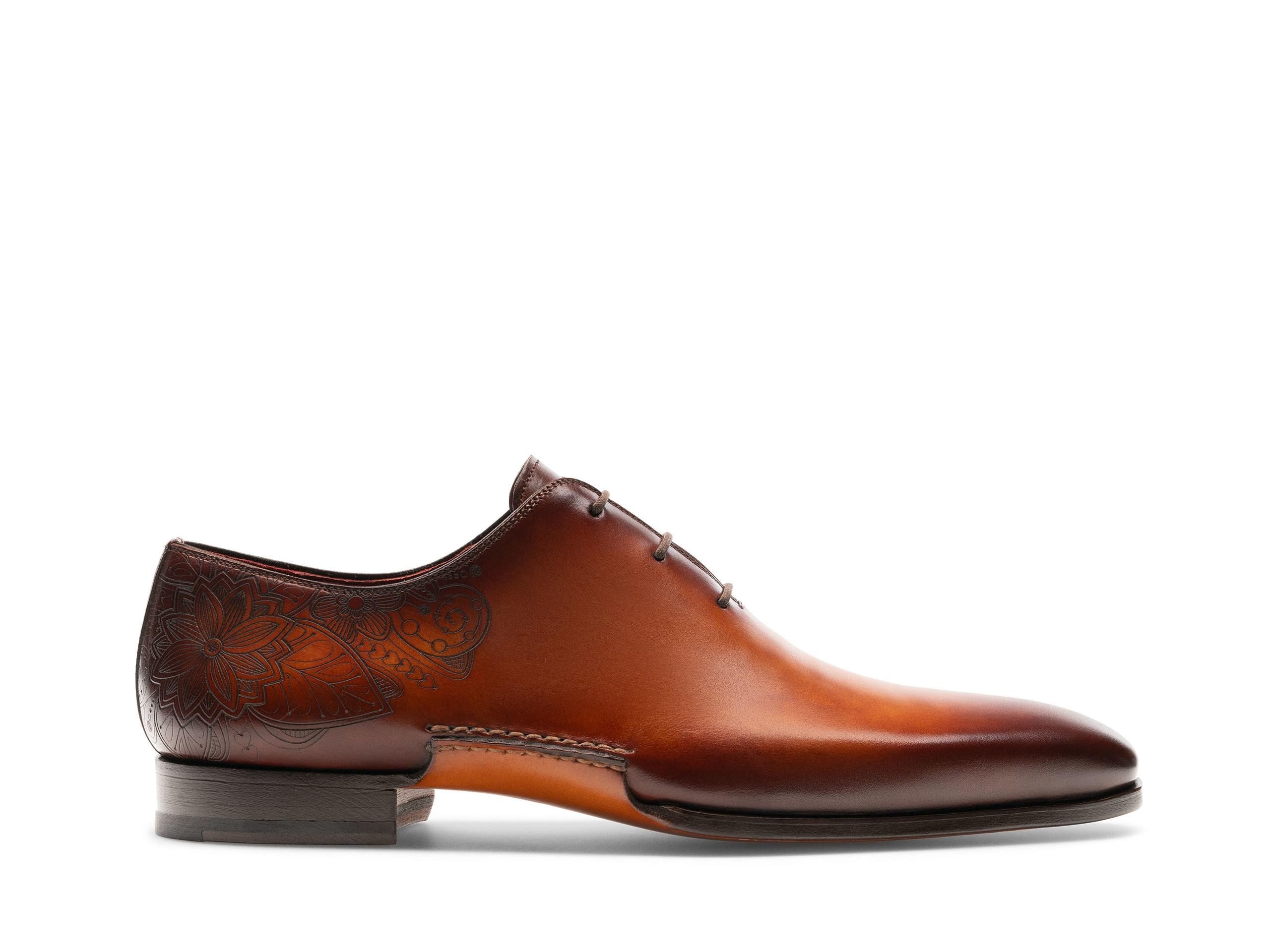 Samos Cognac lace up dress shoes Side Profile